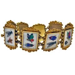 19th Century Italian Gold Pietra Dura Bracelet