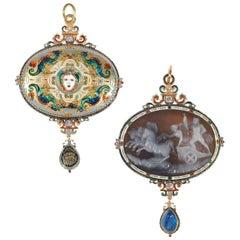 Antique Renaissance Revival Enamel Sapphire Ruby Diamond Cameo Pendant