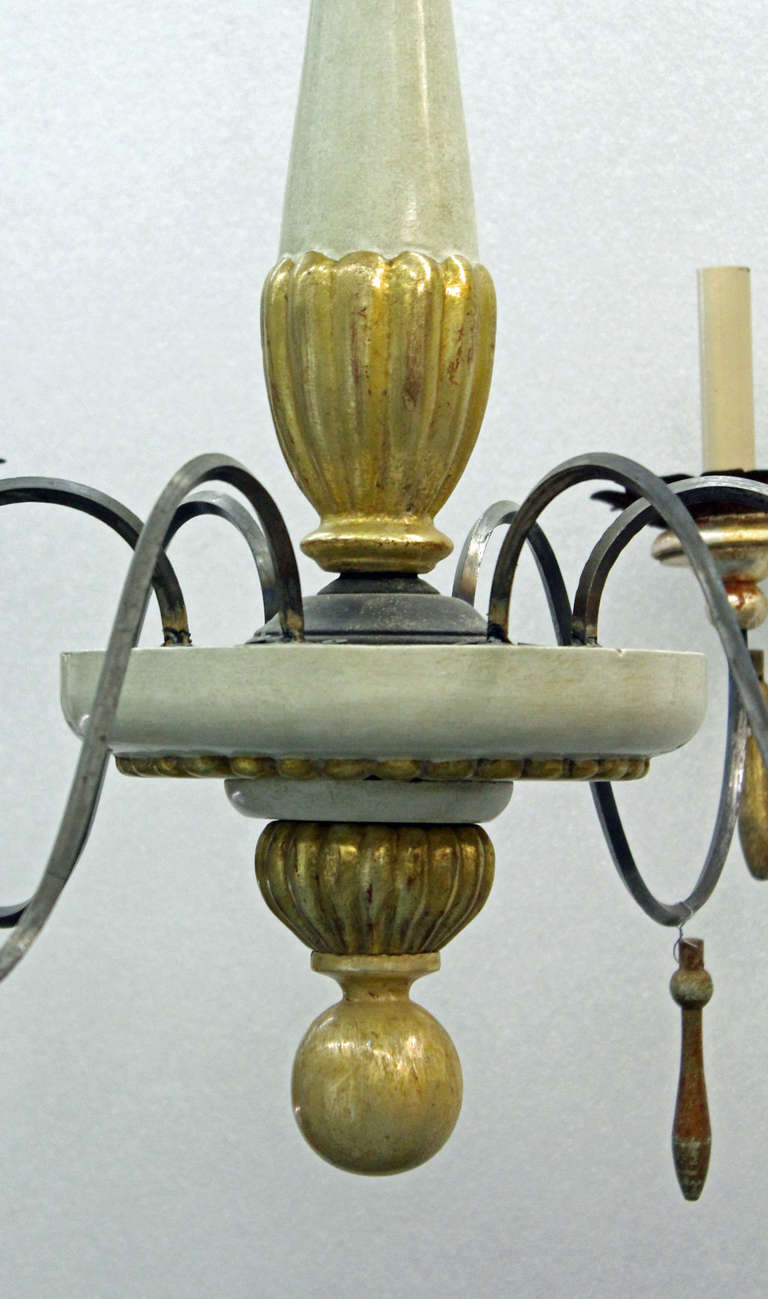Stylish Neoclassical Provincial Paint And Gilded Wood And Metal Six Light Chandelier At Stdibs