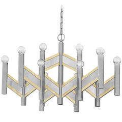 Elegant Chandelier in Chrome and Brass Accents by Sciolari