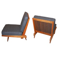 George Nakashima Spindle Back Chairs in Charcoal Silk