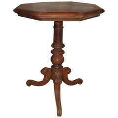Regency Leather-Top Side Table with Gilt Tooling