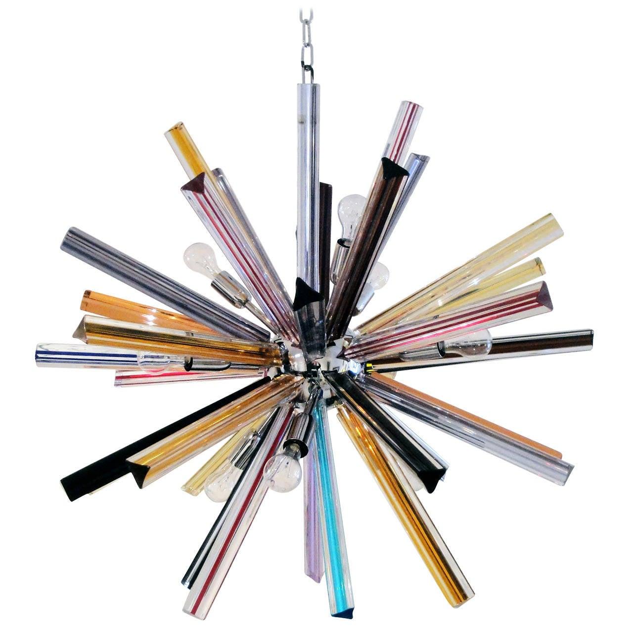Multicolor Glass Sputnik Chandelier At Stdibs