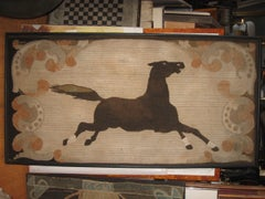 """60"""" 19th Century American Hooked Rug Framed"""
