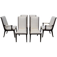 Set of Six Amboyna Wood Dining Chairs by William Doezema for Mastercraft