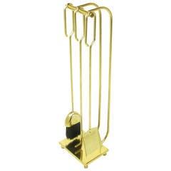 Modernist Brass Fireplace Tool Set