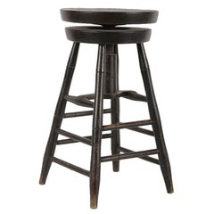 Rare Swiveling Windsor Stool in Black Paint
