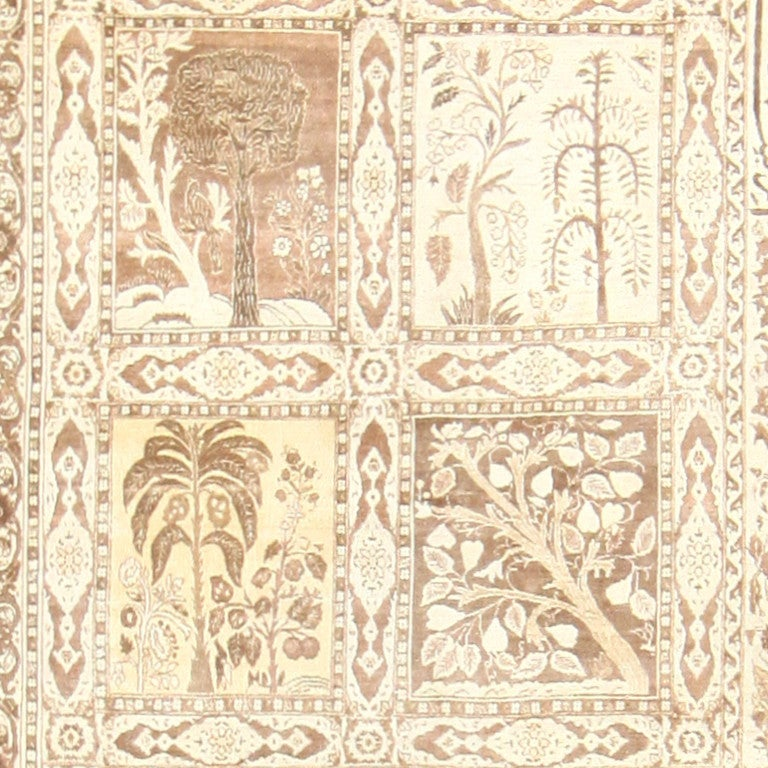 Hand-Knotted Large Antique Tabriz Garden Design Persian Rug. Size: 12 ft x 17 ft 2 in For Sale