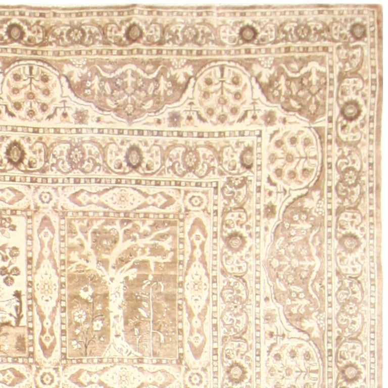 Antique Garden Design Tabriz Rug, Country of Origin: Persia, Circa 1900. Size: 12 ft x 17 ft 2 in (3.66 m x 5.23 m)  This truly spectacular garden design rug is a rare piece and would make an excellent addition to any collection. It is a rare,