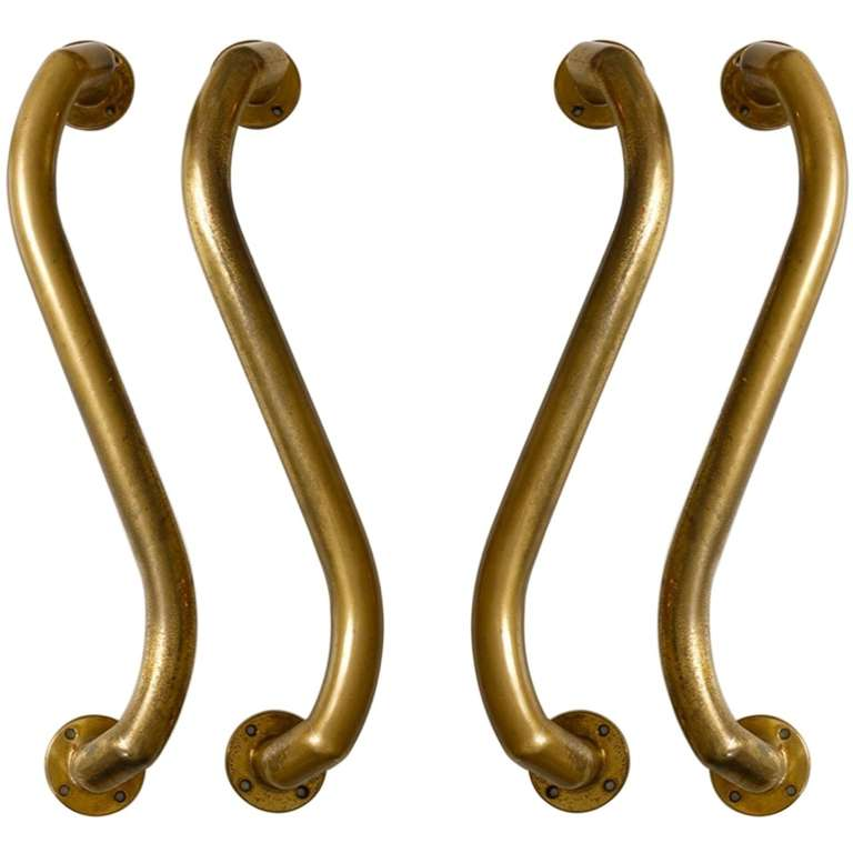 Double Pair of Large Serpentine Bronze Door Handles For Sale at ...