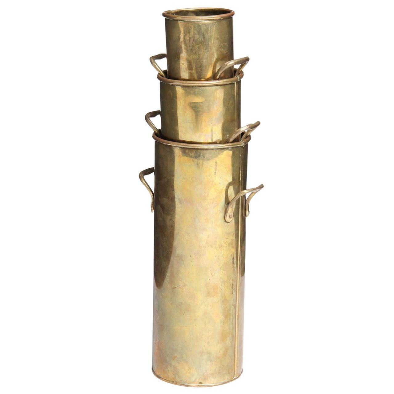 Nesting brass vases, 1960s