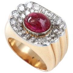 Big Ruby Diamond Gold Retro Ring