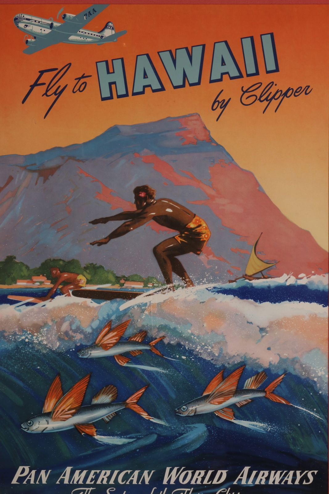 Extremely Rare And Original Fly Pan Am To Hawaii By Clipper Poster