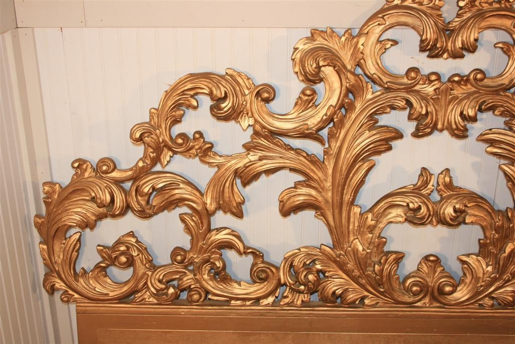 Carved wood headboard