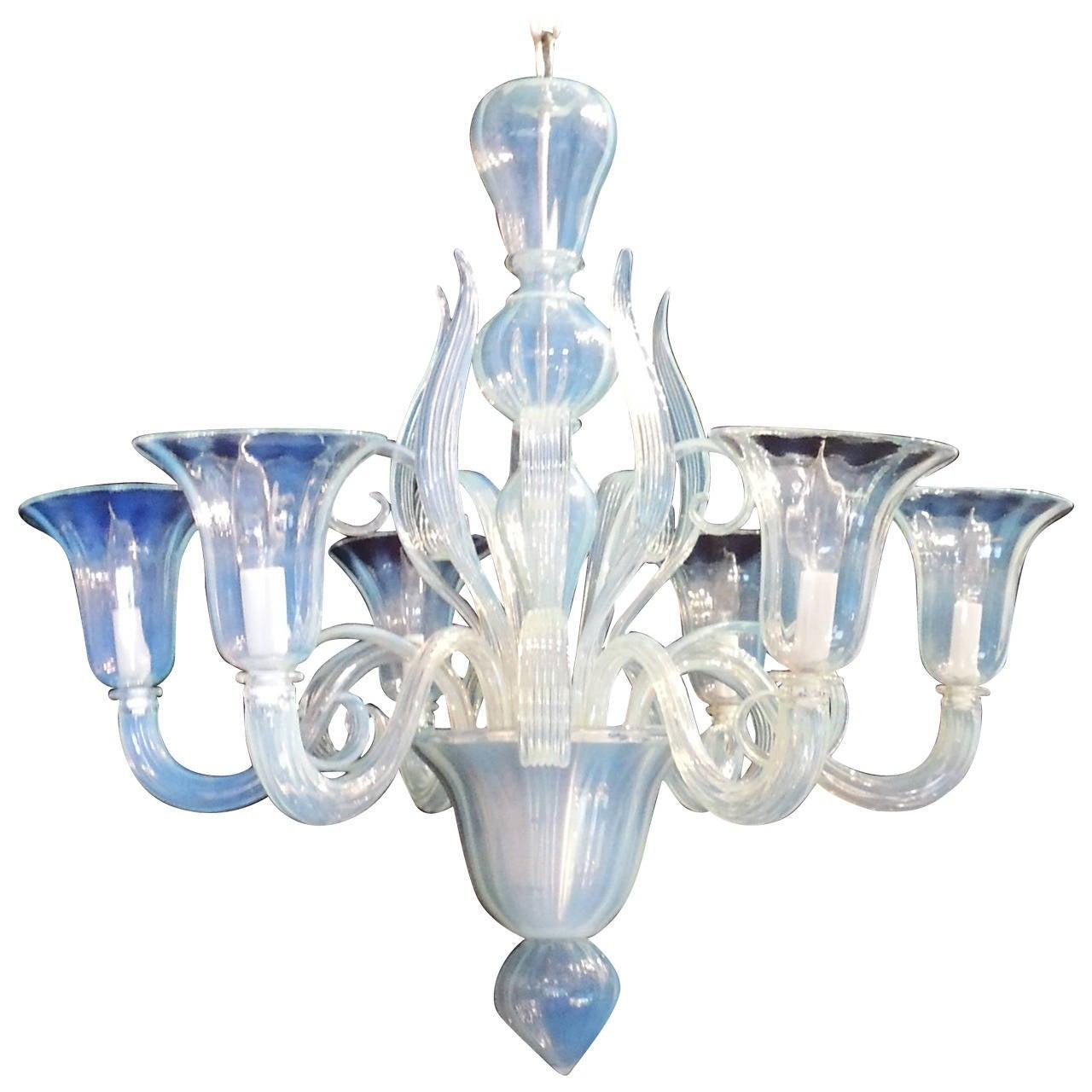 Vintage Modern Transitional Opalescent Venetian Murano Glass Chandelier Fixture At Stdibs