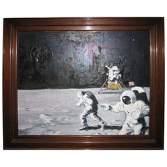 Historic Lunar Landing Painting by Caulton Waugh, 1969