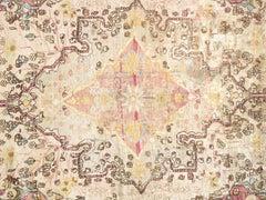 Antique Persian Silk Kashan Rug, Handmade Oriental Rug, Ivory, Purple, Light Blu