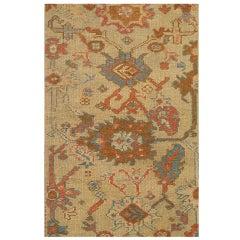 Antique Turkish Oushak Carpet, Handmade Oriental Rug, Beige, Taupe, Terracotta