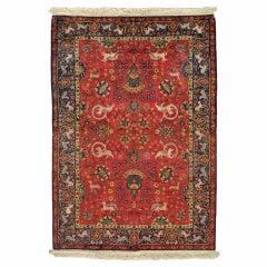 Antique Silk Turkish Rug, Handmade Oriental Rug, Red and Blue, Fine Silk Rugs