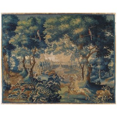18th Century Fine Brussels Tapestry, Silk Wool, Green, Blue, Mythological Theme