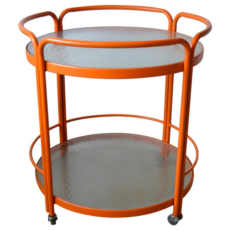 Large Vintage Vibrant Orange Aluminum And Gl Indoor Or Outdoor Serving Cart 1