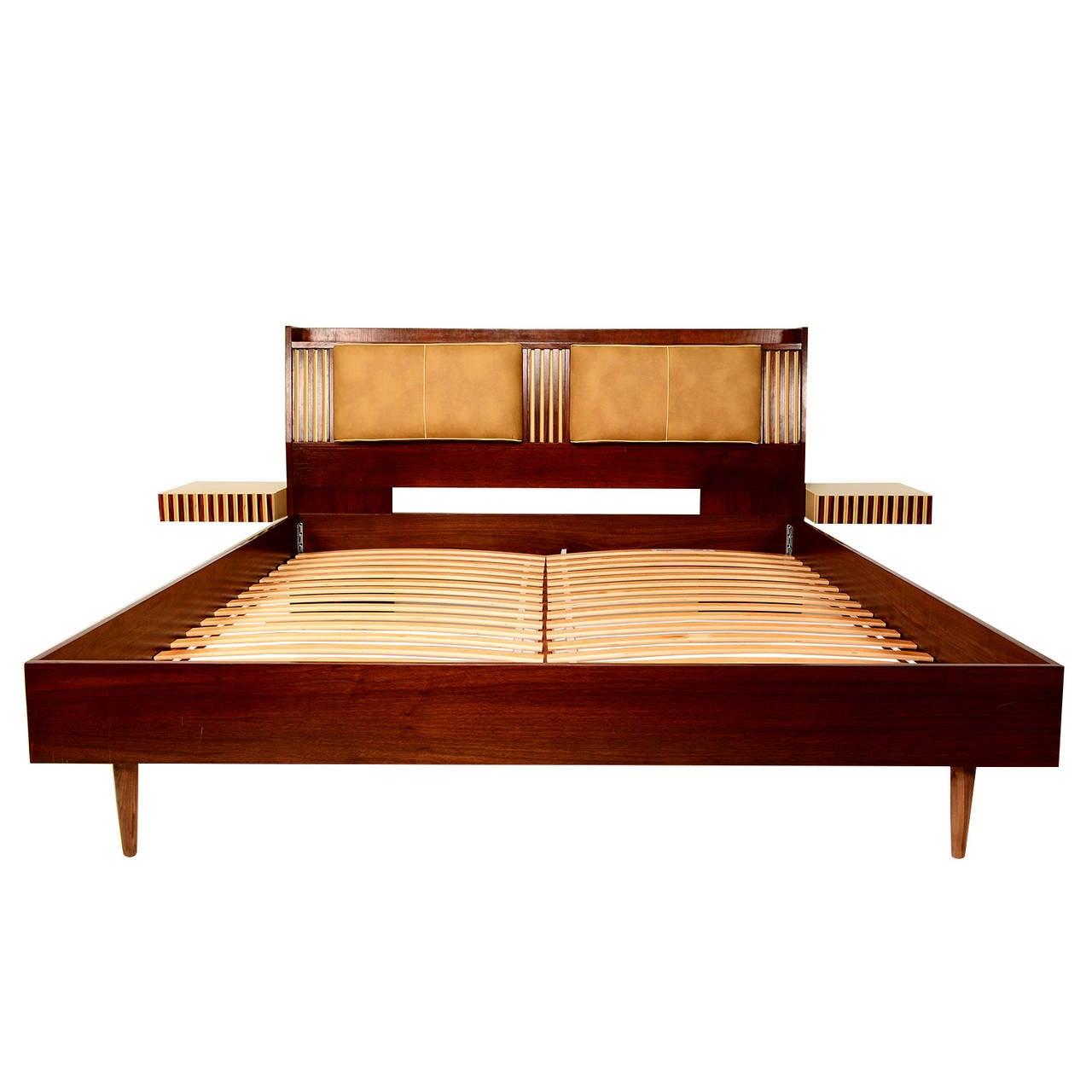 Solid wood bed platform with nightstands