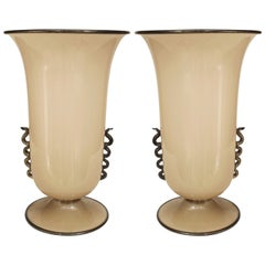 Pair of 1930s Venini Black-Trimmed Beige Murano Glass Table Lamps