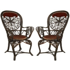 Pair of 19th c. Filigree Wicker Fan Back Arm Chairs