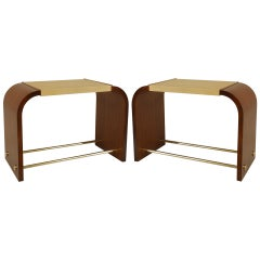 Pair of French Brass-Trimmed End Tables, by Jean & Jacques Adnet