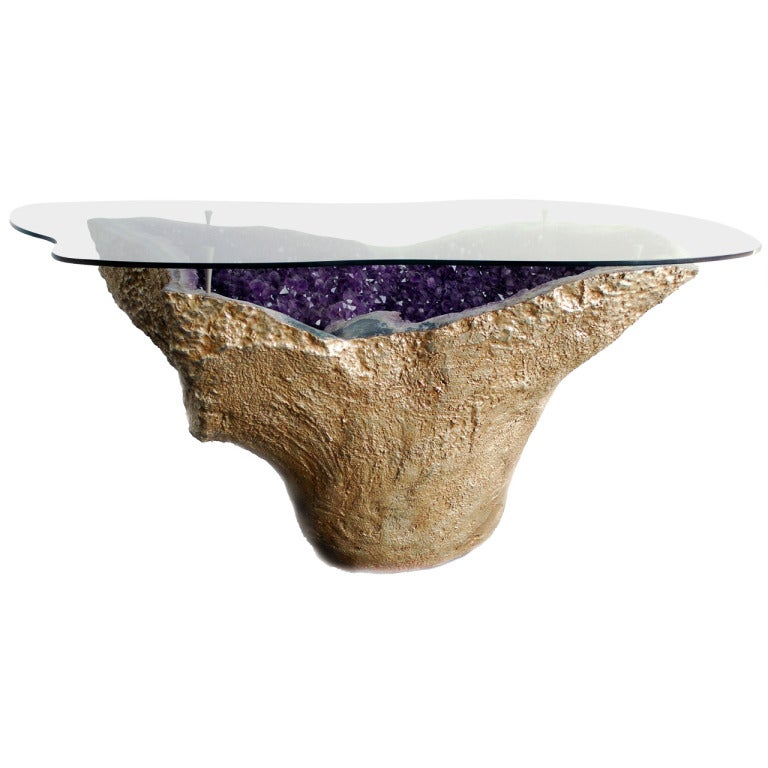 Rare Amethyst Geode Table Gilded  Karat Gold With Custom Cut To Form