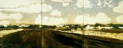 Ready for Planting (Modern, Pastoral Landscape Triptych, Oil on Wood Panel)