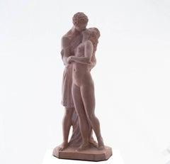 'The Kiss', Petit Palais, Paris, Neo-classical Terracotta Figurative Statue