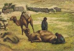 Pastoral Landscape Palestine/Israel Camels and Shepherds
