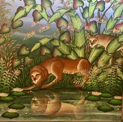 """Narcissus"" Lion and Lioness Tropical Jungle Painting Gustavo Novoa Lions"