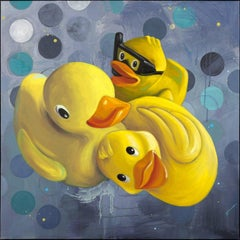 """""""Pile Up"""", Anne Sargent Walker, acrylic, oil painting, ducks, yellow, grey, blue"""