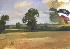 Outside Dinan, France, Pastoral Landscape, Oil on Paper on Panel, Framed