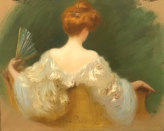 French Portrait of the Artist's Wife, Femme de Dos À  L'Éventail, c. 1920s