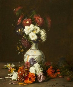 Still Life of Flowers in a Vase late Victorian 19th Century Hippolyte Delanoy
