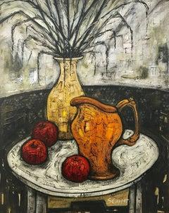 Still Life Painting with Orange Jug & Apples by British Artist