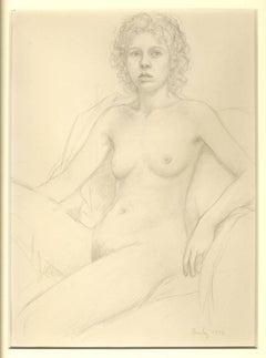 Nude With Curly Hair (early full frontal female nude pencil drawing, leg raised)
