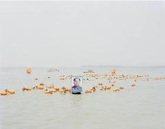 People Crossing the Yellow River with a Photo of Mao Zedong, Henan