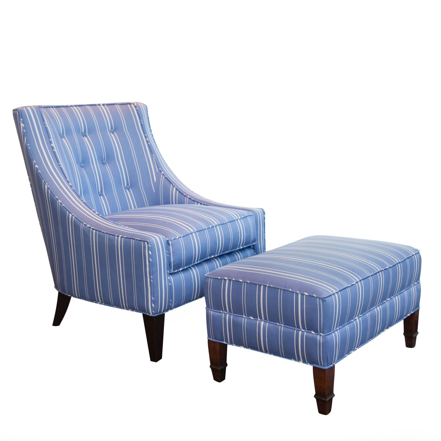 Upholstered lounge chair and ottoman, 1990s