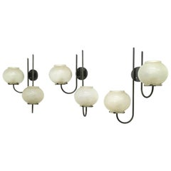 Set of Three Sconces in the Style of Gino Sarfatti for Arteluce, Italy, 1960s