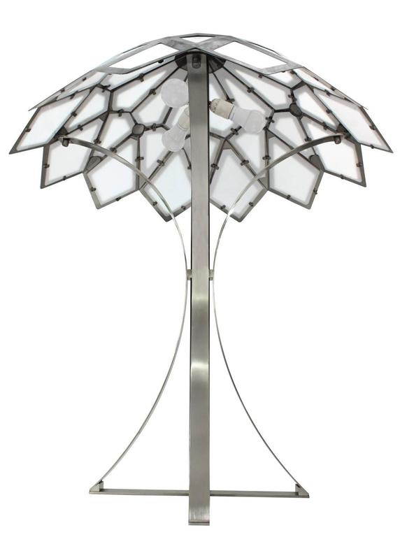 """Rare and Exceptional large """"Caleidoscopo"""" (""""Kaleidoscope"""") table lamp in brushed stainless steel and white plexiglass by Gabriella Crespi, Italy 1974 (signed"""