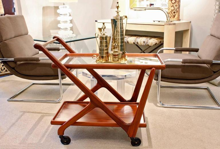 Late 20th Century   Cesare Lacca Elegant Rolling Cart with Glass Top, 1970s For Sale
