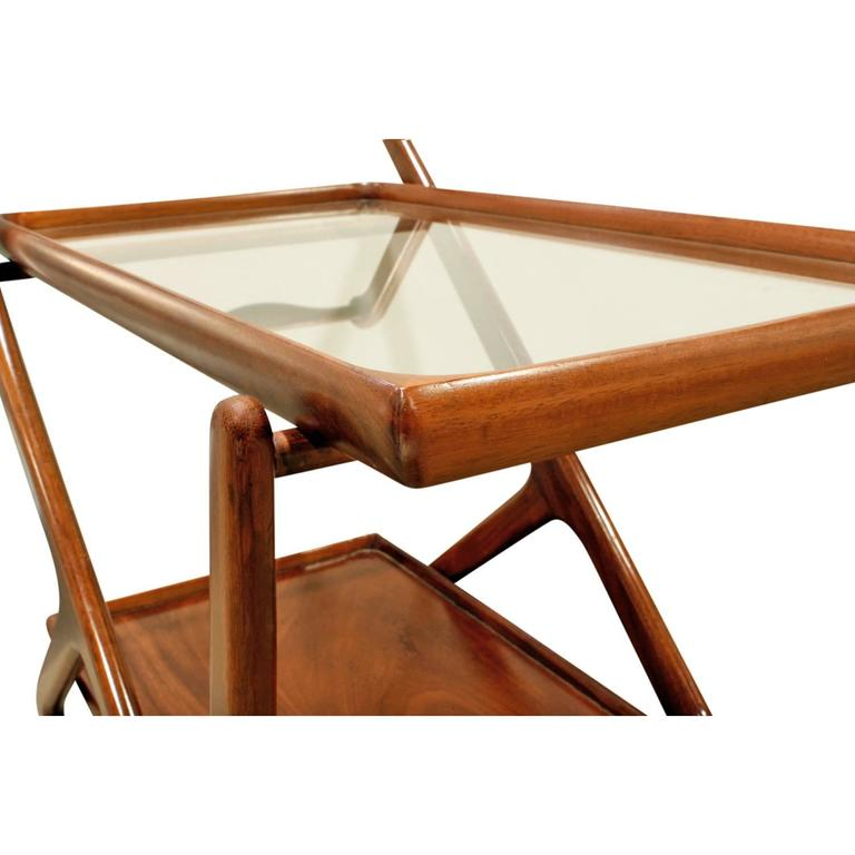 Hand-Crafted   Cesare Lacca Elegant Rolling Cart with Glass Top, 1970s For Sale