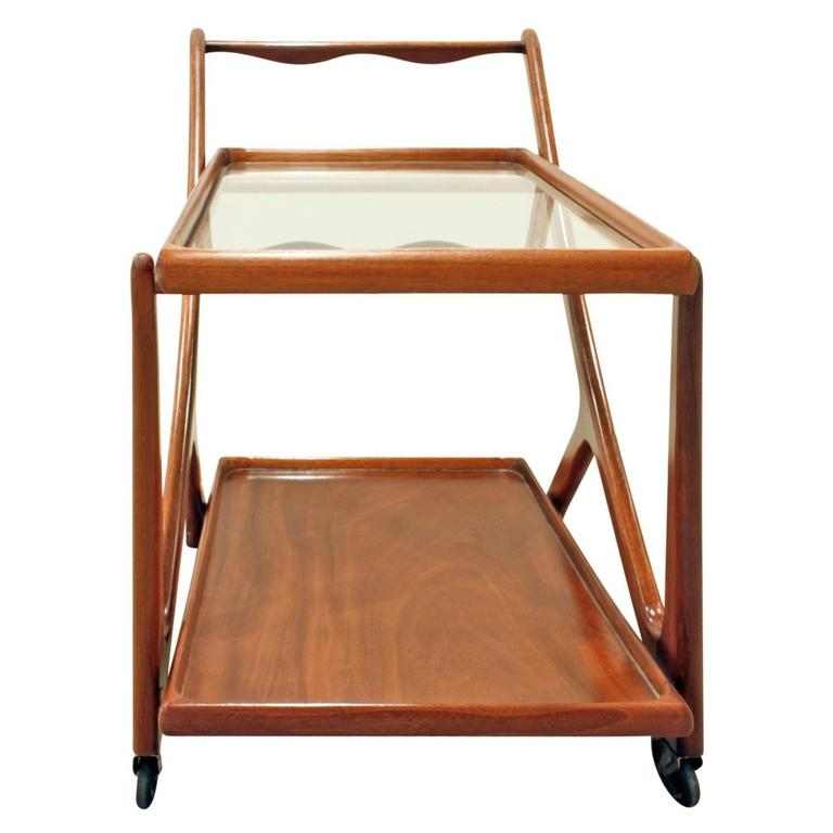 Modern   Cesare Lacca Elegant Rolling Cart with Glass Top, 1970s For Sale