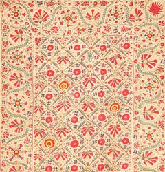 Early 19th Century Suzani Uzbek Textile. Size: 5 ft 4 in x 5 ft 7 in