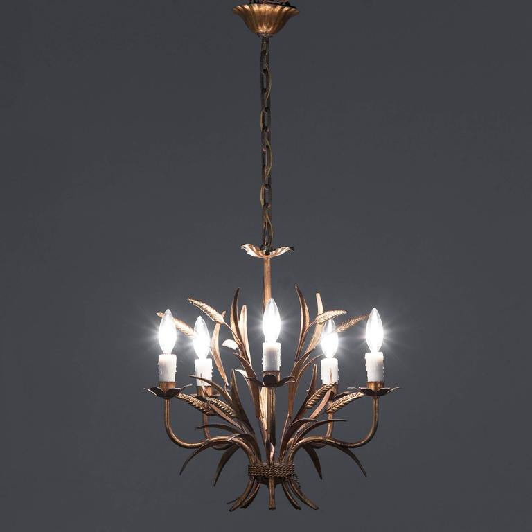 Gilded Metal Sheaf Of Wheat Chandelier Italy S At Stdibs