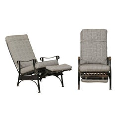 Pair of Mid-Century Reclining Patio Lounge Arm Chairs w/ Extendable Foot-Rests